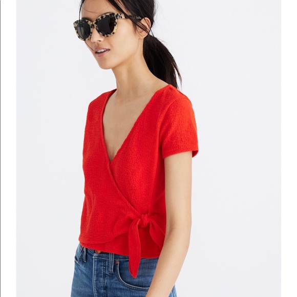 b53be382203a9 Texture   Thread Wrap-tie Top in Ripe Persimmon